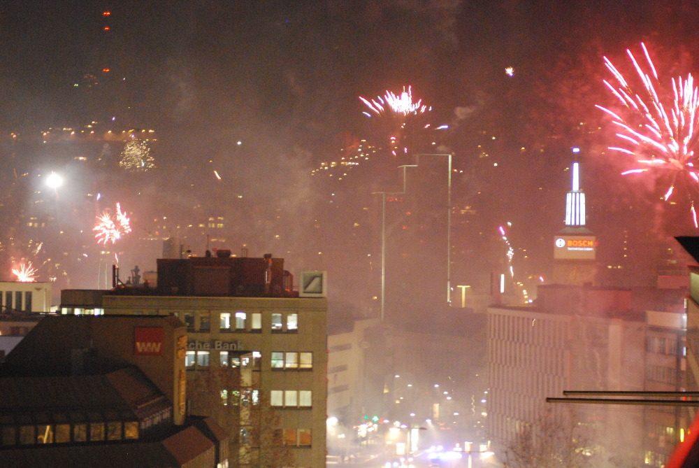 Feuerwerk über der Innenstadt